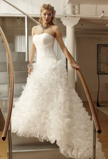 42426-7263W  Strapless organza wedding dress with ruffled skirt, rouched bodice, zip to waist,...
