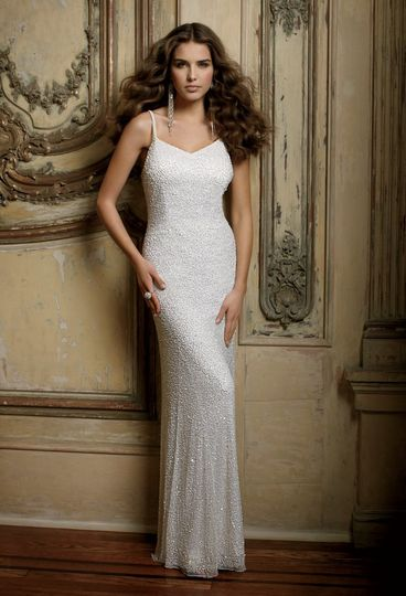 c1bb2b16323c Group USA & Camille La Vie 42900-8377W Fully beaded strapped wedding dress  is cut on a bias to accentuate.