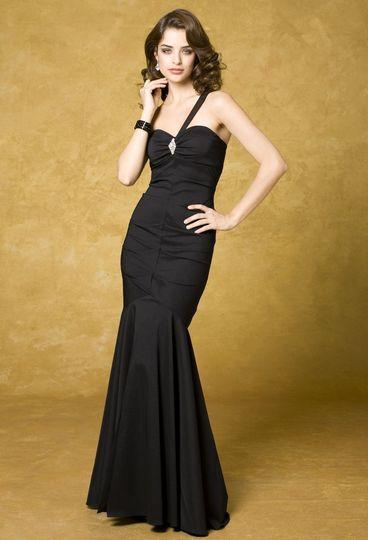 41770-9031F Strapless taffeta pick-up dress with tie back sash waist.