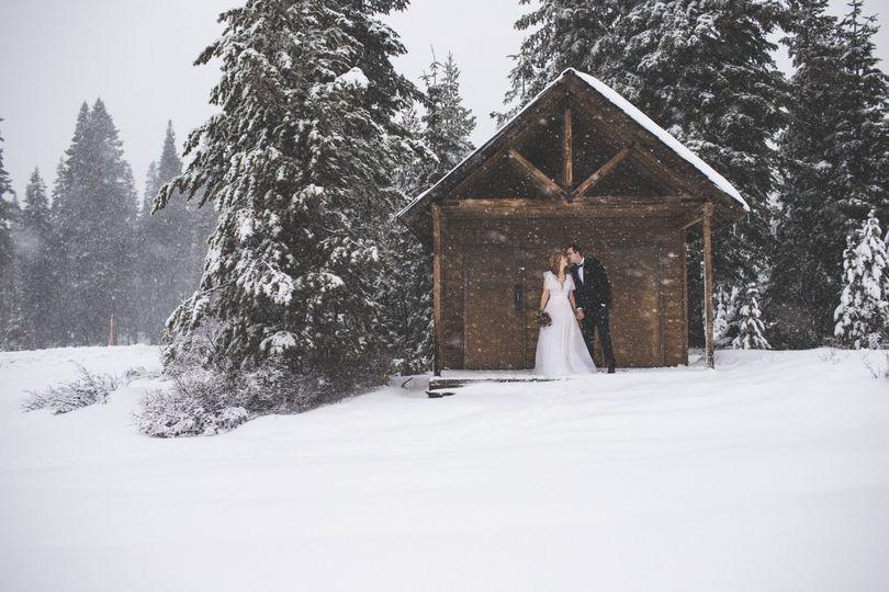 Cozy winter cabin in the woods
