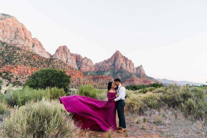 Mountainous backdrop