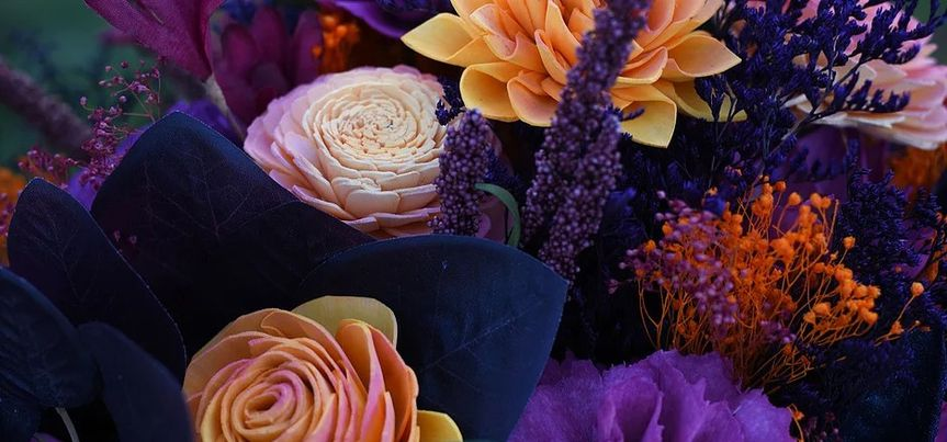 Purple and orange floral arrangement