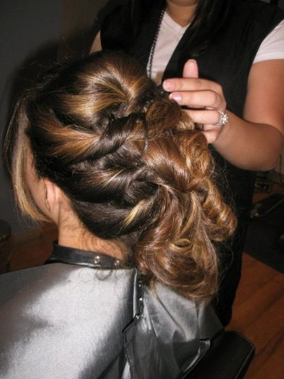 Formal hair style to one side!