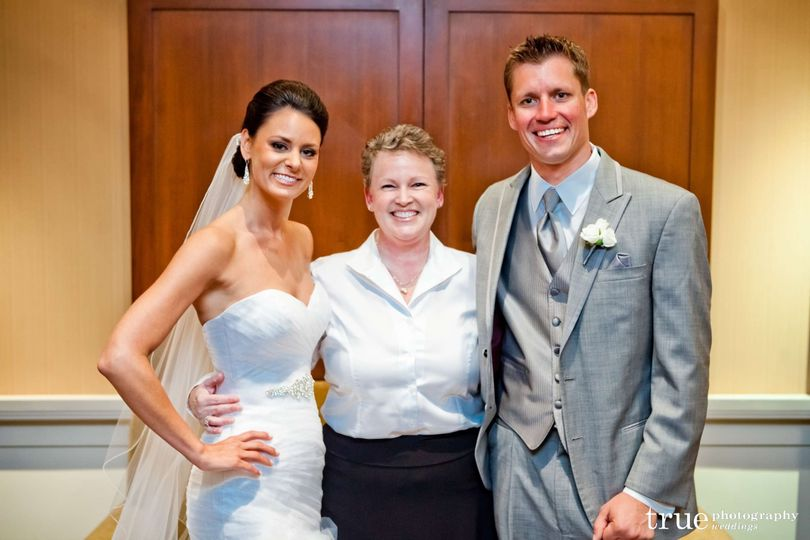 Couple and the officiant