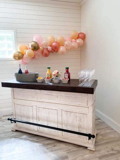 Bar area during wedding shower