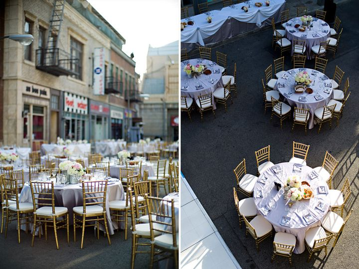 Katie & Joey's wedding floral & design we did at CBS Studio Center's New York Street
