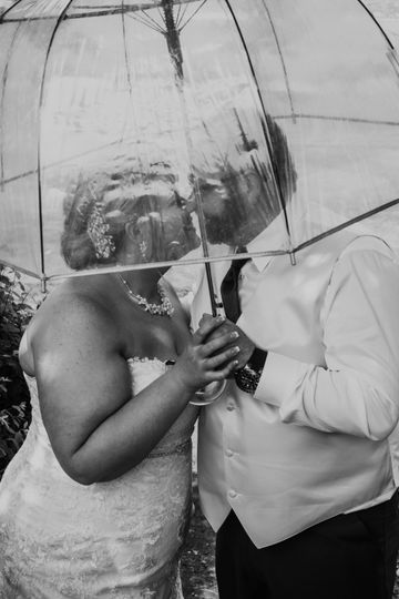 A kiss under the umbrella