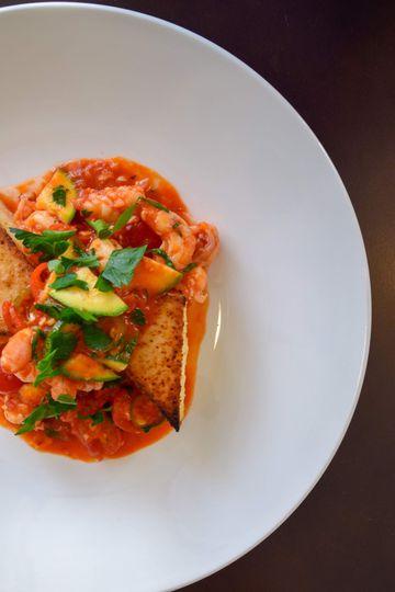 Polenta with local shrimp