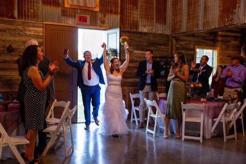 A happy wedding entrance