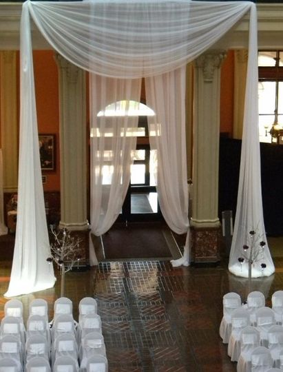 "The ""Grand Entrance Drape"" which the wedding guests entered through upon arrival. We then dropped..."