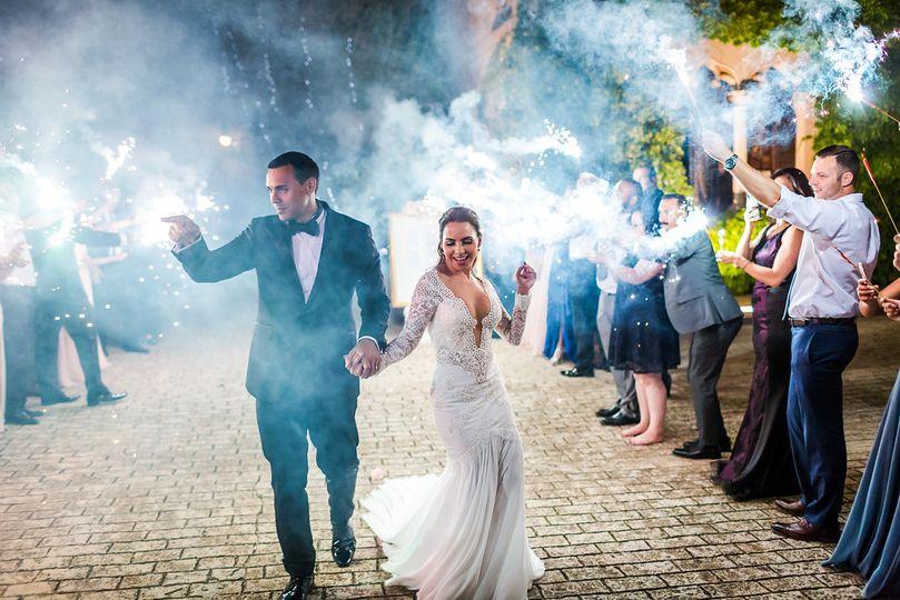 Wedding sparklers send off