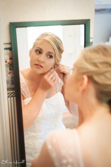 Bride wearing earings