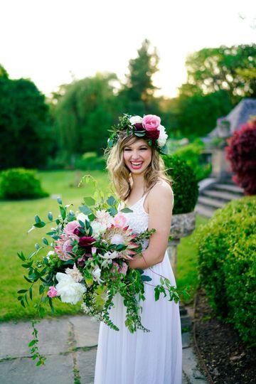 Bride holding a large bouquet