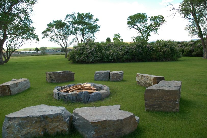 Fire pit stone area