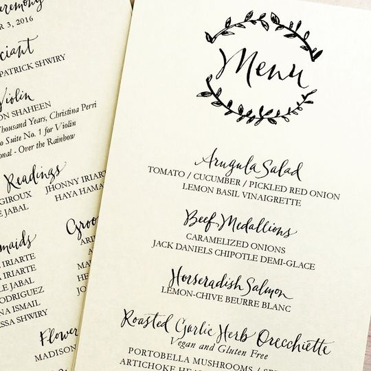 Custom Handlettered Menu and Wedding Programs