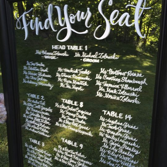 Custom Calligraphy - Handlettered Seating Chart Mirror