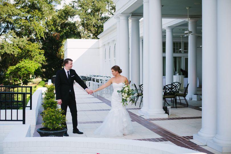 Newlyweds at the back patio | Photo Credit: Jamie Borland