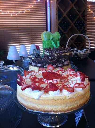 These gourmet cheesecakes were served at a wine themed surprise retirement party.
