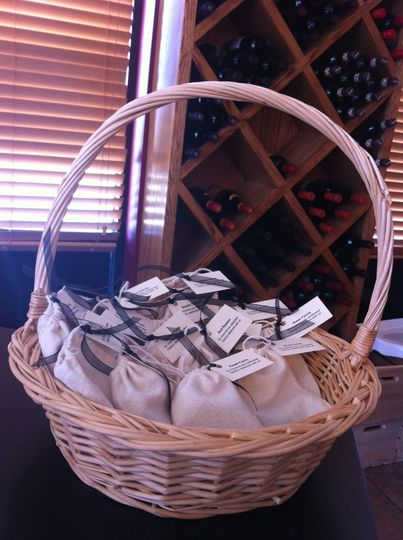 At this wine themed retirement party, each guest received a set of handmade wine charms to take...