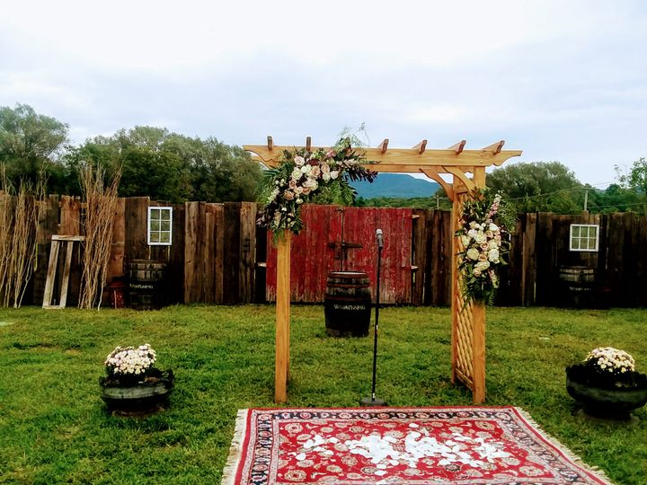 Boho ceremony setup