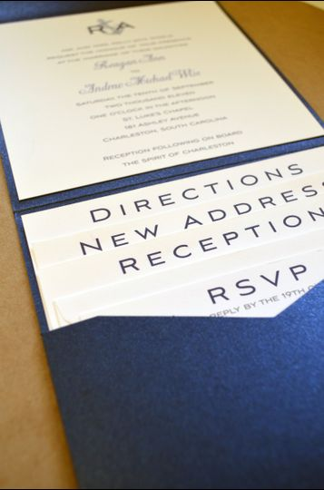 White and blue invitation