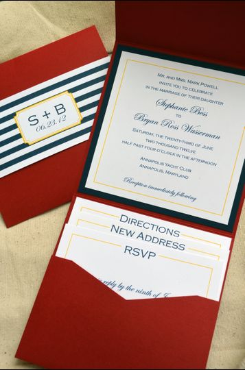 Blue and red invitation