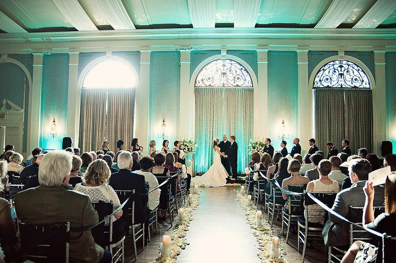 During the ceremony in the mansion