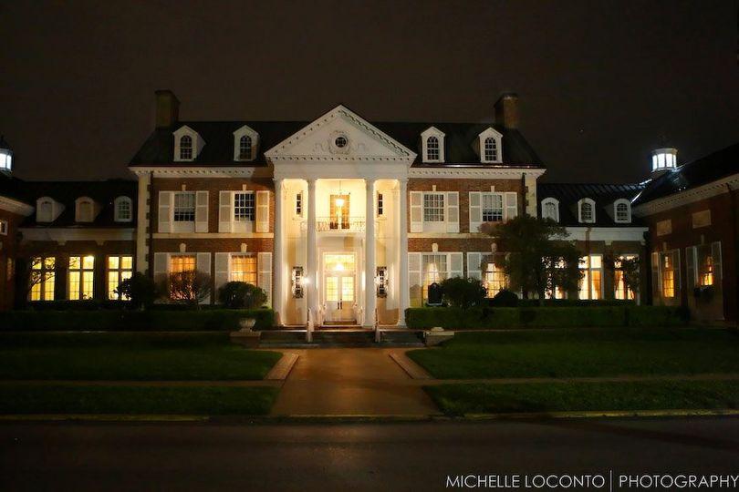 The mansion at night