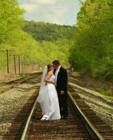 Kissing on train tracks