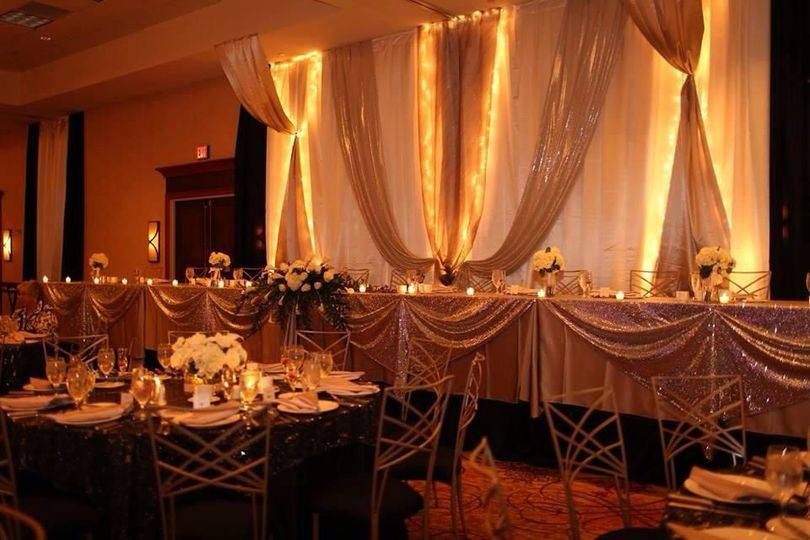 Head table lighting and backdrop