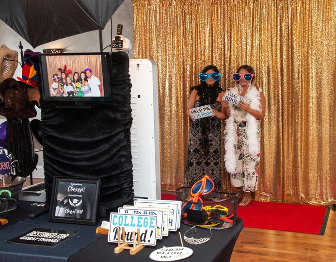 Guests at the photo booth