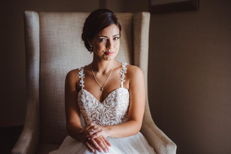 Bride next to window
