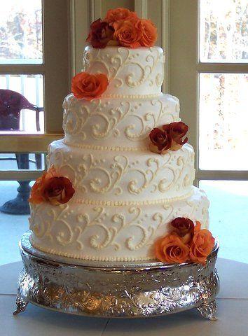 Tmx 1362760349483 Autumnrosesscrollcake Kingston wedding cake