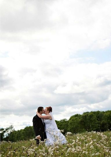 A bride and groom out in the field in Hartford, WI