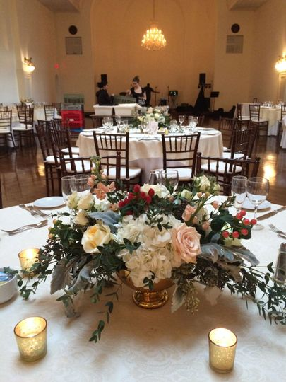 Flowing oblong centerpiece at the Bourne Mansion