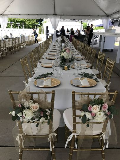 Decorated bride and Groom chairs