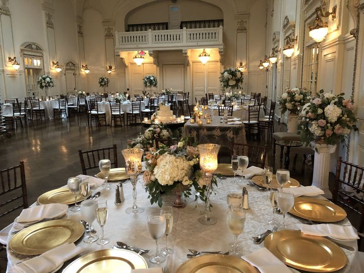 High and low centerpieces at the Bourne Mansion
