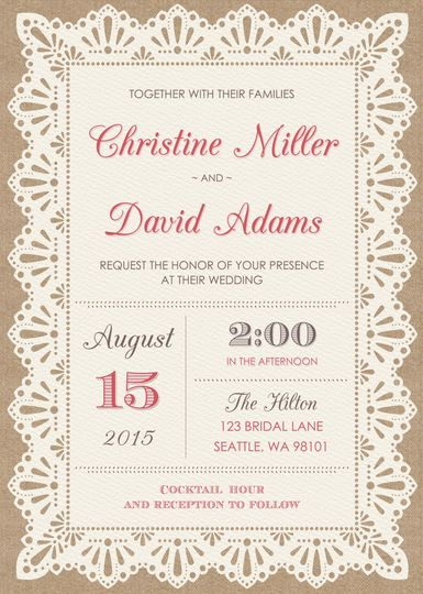 burlap and lace wedding invitation 5x7