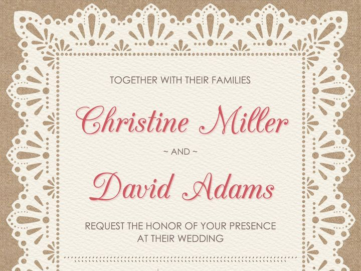 Tmx 1438284492609 Burlap And Lace Wedding Invitation 5x7 Cary wedding invitation