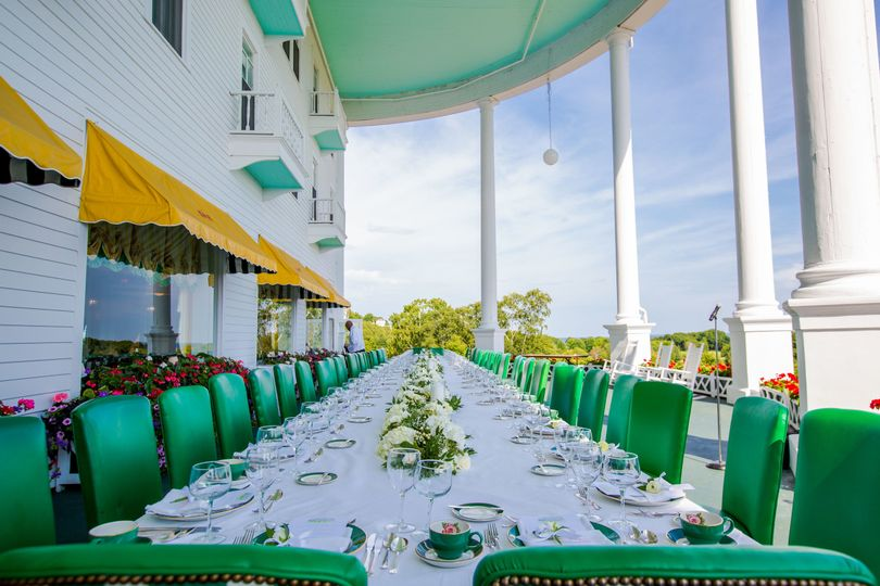 Green long table