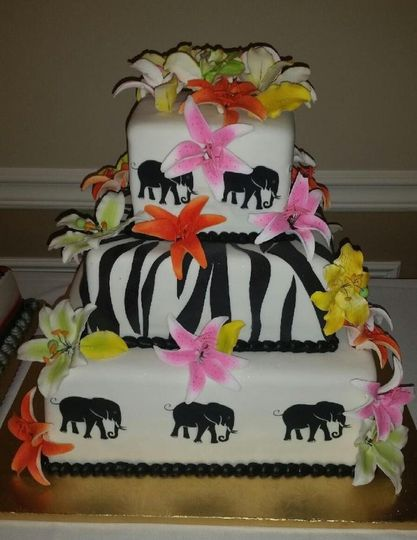 Three tier zoo inspired cake