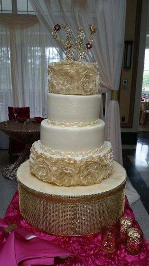 Fondant ruffled wedding cake
