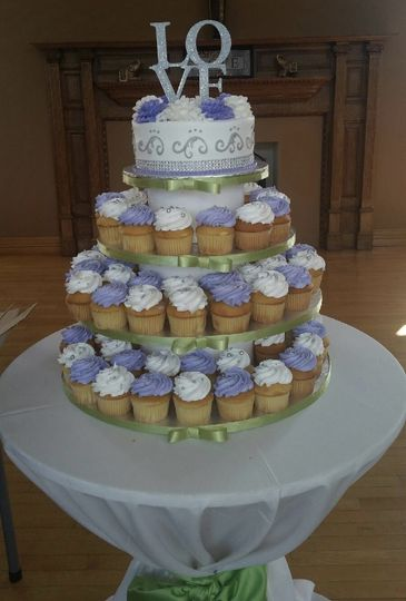 Cupcake wedding cake display on custom stand