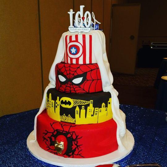 Split Superhero Wedding Cake