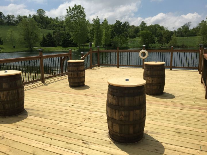 Whisky barrels on deck