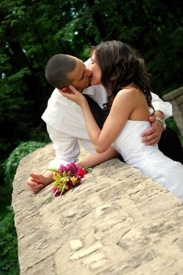 Bride and Groom share a romantic moment.