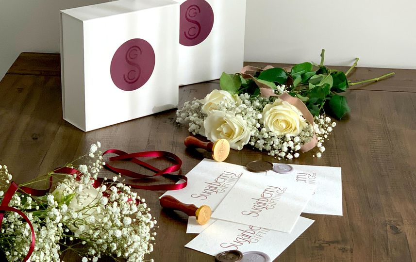 Branded boxes flat lay