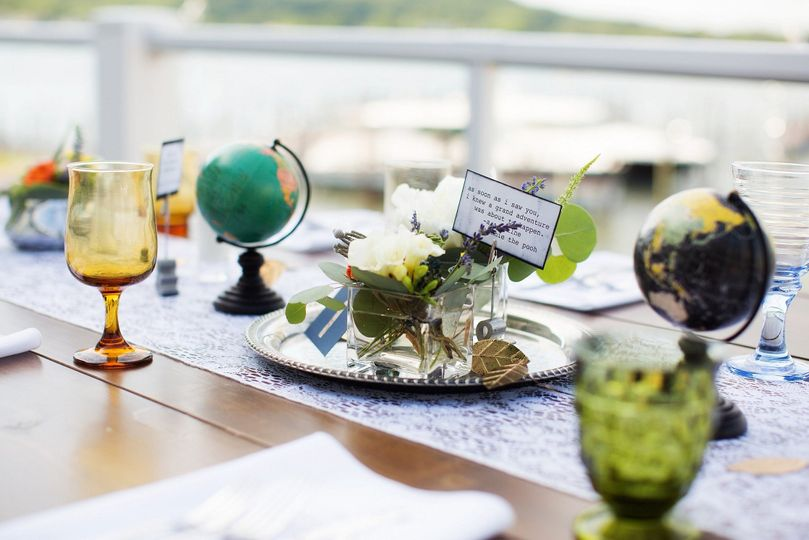 Table centerpiece with globe