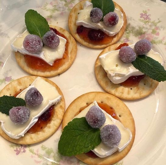 Sugared cranberry and brie appetizers