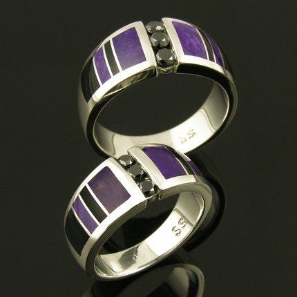 Unique his and hers sterling silver black diamond wedding set inlaid with sugilite and black onyx....